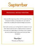 Preschool Weekly Writing - September