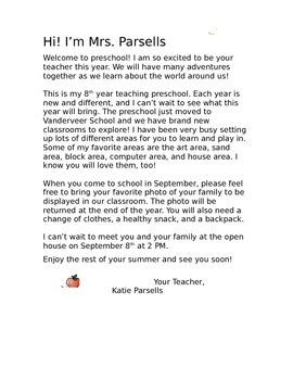 Preschool Welcome Letter By To Teach Their Own Tpt