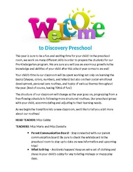 Preschool Welcome Letter