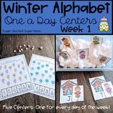 Preschool Winter Alphabet Centers   Mini-Bundle 1