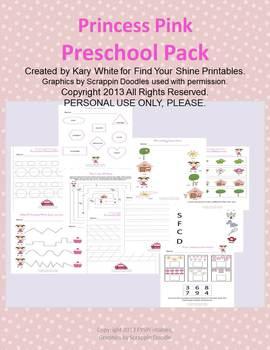 Preschool Worksheet Pack Princess Pink
