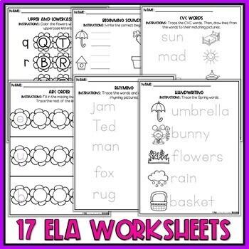 Spring Preschool Worksheets April