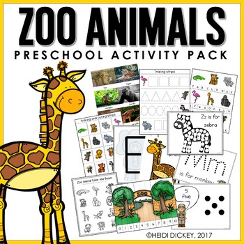 Preschool Zoo Theme Learning Pack By Heidi Dickey Tpt