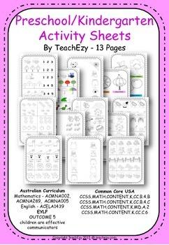 Preschool and Kindergarten Activities Worksheets