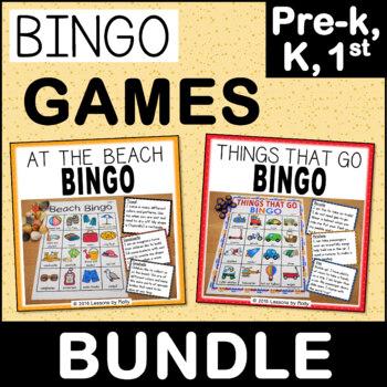 Preschool and Kindergarten Bingo Games - Beach and Transport Themes