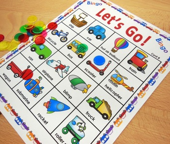 Preschool and Kindergarten Bingo Games - Beach and Transport Themes