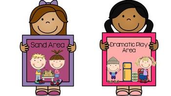 Preschool and Kindergarten Classroom Center Labels- Kid Signs- Early Childhood