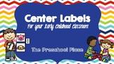 Preschool and Kindergarten Classroom Center Labels- Kid Si