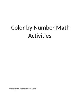 Preschool and Kindergarten Color By Number English/Spanish version