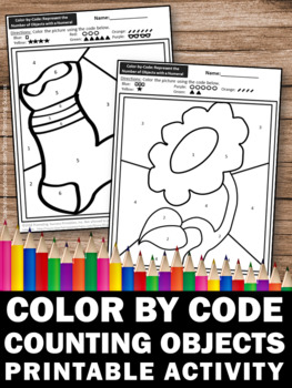 Preschool Kindergarten Counting 1-10 Color by Number Coloring Pages, SPS