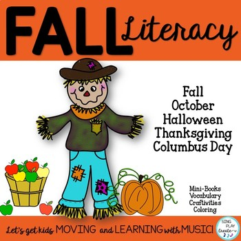 Fall Literacy Print and Go Activities: Writing,Coloring, Craft Pre-K and K