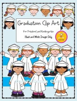 Preschool and Kindergarten Graduation Clip Art- in Black a