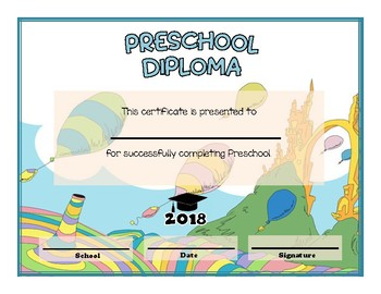preschool and kindergarten graduation diploma dr seuss oh the places themed