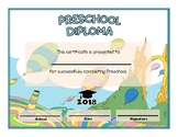 Preschool and Kindergarten Graduation Diploma - Dr Seuss O