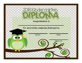 Preschool and Kindergarten Graduation Diploma - Owls