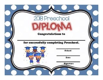 preschool and kindergarten graduation diploma polka dot tpt
