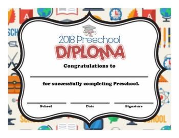 preschool and kindergarten graduation diploma school supplies tpt