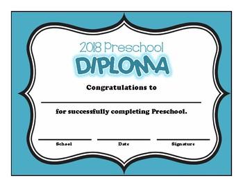 Preschool and Kindergarten Graduation Diploma - Solid Color