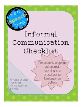 Preschool and Kindergarten Language Checklist