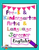 Preschool and Kindergarten Language and Articulation Scree