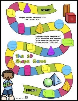 Math Centers Kindergarten 1st | Math Games Kindergarten 1st | 2D and 3D Shapes
