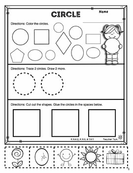2D Shapes Worksheets Kindergarten 1st Grade | 2D and 3D Shapes