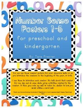 Preschool and Kindergarten Number Sense Posters to 5 FREEBIE