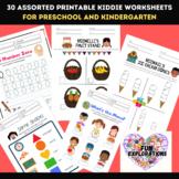 Preschool and Kindergarten Printable Math and Language Worksheets