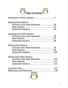 Preschool and Kindergarten Work Stations Aligned with State Standards