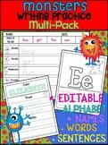 Preschool and Kindergarten Writing Practice Pack - Monsters