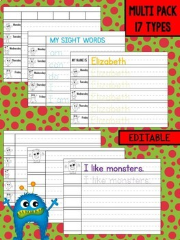 Preschool and Kindergarten Writing Practice Pack - Monsters