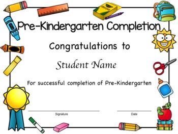 Preschool and Pre-Kindergarten Diplomas, Certificates, and Completion