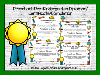 Pre kindergarten certificate of completion teaching resources preschool and pre kindergarten diplomas certificates and completion yadclub Image collections