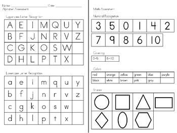 Preschool assessment plan