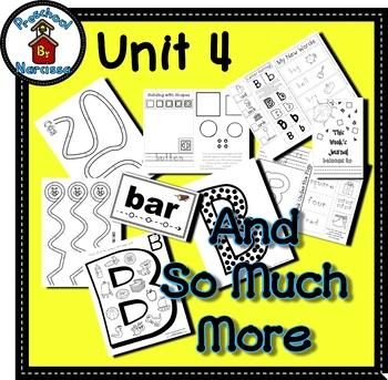 Preschool by Narcissa - Pre-K Program - Unit 4  {PbN} - B Red Square 3 & 4