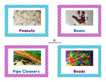 Preschool center bin labels