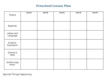 Preschool lesson plan