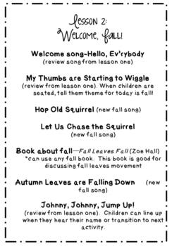 Preschool music lesson plans (SEPTEMBER-DECEMBER)