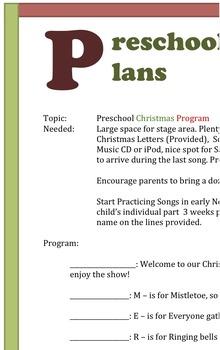 Preschool or Kindergarten Christmas Program