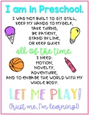 "Preschool | Pre-K  | Kindergarten ""Let Me Play"" Poster"