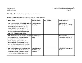 Preschool's Creative Curriculum Beginning of the Year Study - Week 1