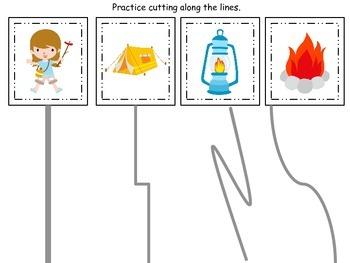Preschool scissor cutting practice.  Camping themed preschool activity.