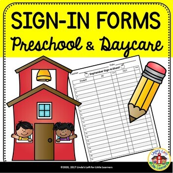 preschool and daycare sign in forms by linda s loft for little learners