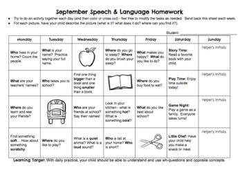Preschool/Early Learning Speech-Language Homework Freebie - September
