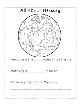 Space Unit All About the Planets Booklet