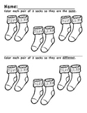 Preschool/Kindergarten:  Same/Different Coloring Socks