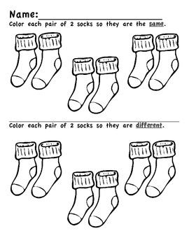 Preschool/Kindergarten:  Same/Different Coloring Socks