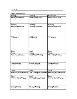 Preschool/PreK Weekly Planner
