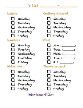 Preschoolers Homeschool Work List