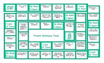 Present Continuous Tense Board Game